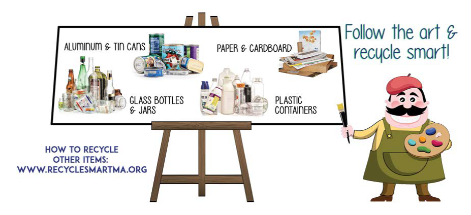 Follow the art and recycle smart. How to recycle other items visit www.recyclesmartma.org