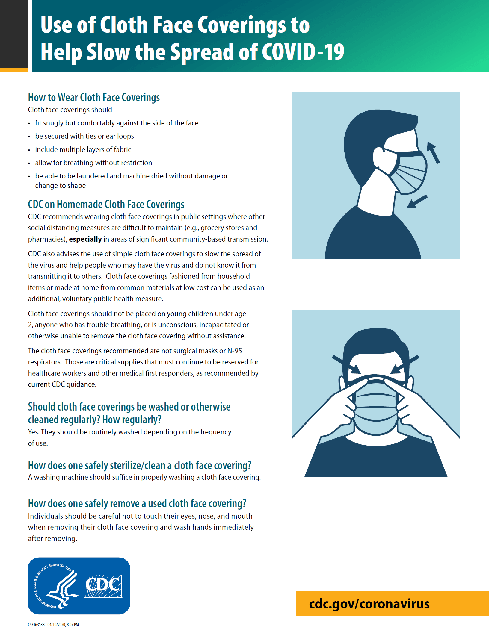 CDC Guidance - Face Covering